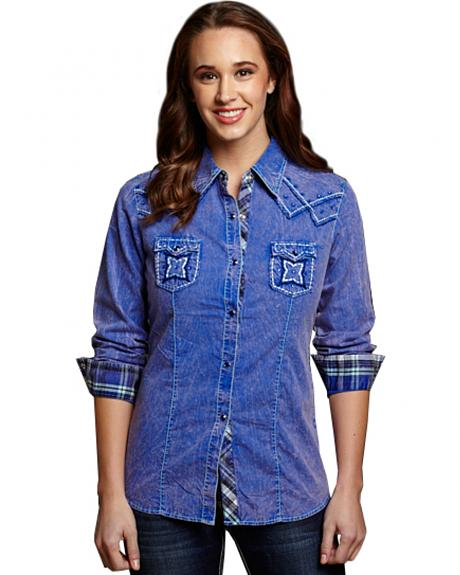 Cowgirl Up Women's Blue Stonewash Embroidered Western Shirt