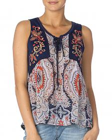 Miss Me Women's Navy Print Lace Back Sleeveless Top
