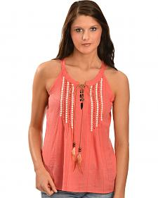 Miss Me Women's Feather Tie Crepe Sleeveless Top