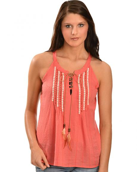 Miss Me Women's Feather Tie Crepe Sleeveless Top