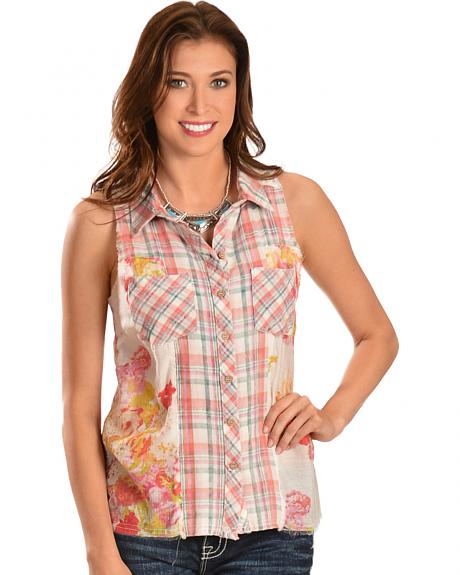 Miss Me Women's Plaid & Floral Sleeveless Button-Down Shirt