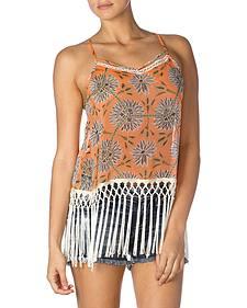 Miss Me Orange Floral Fringe Tank Top