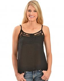 Miss Me Women's Black Chiffon Open Back Cami