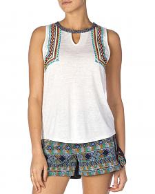 Miss Me Women's White Slub Knit Embroidered Tank Top