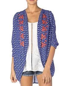 Miss Me Women's Blue & Coral Sheer Kimono