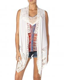 Miss Me Women's White Lace Vest