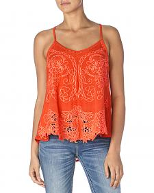 Miss Me Women's Coral Printed Cross-Back Sleeveless Top