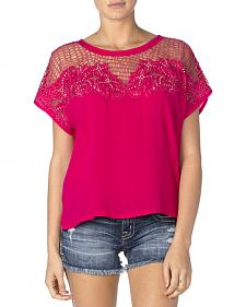 Miss Me Women's Hot Pink Mesh Cap Sleeve Top