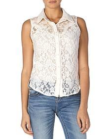 Miss Me Women's Lace Button-Down Sleeveless Shirt