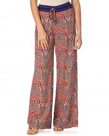 Miss Me Women's Coral & Navy Palazzo Pants