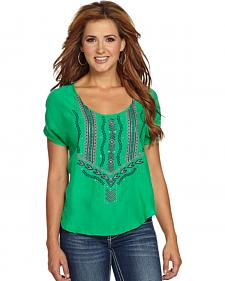 Cowgirl Up Women's Emerald Green Embroidered Blouse