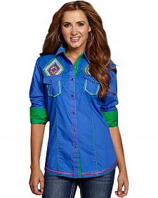 Cowgirl Up Women's Blue Native American Stitch Snap Shirt