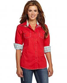 Cowgirl Up Women's Red Caustic Wash Embroidered Snap Shirt