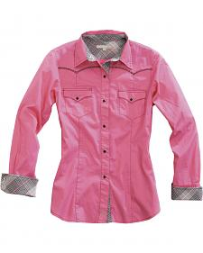 Tin Haul Women's Pink Contrast Trim Long Sleeve Snap Cowgirl Shirt
