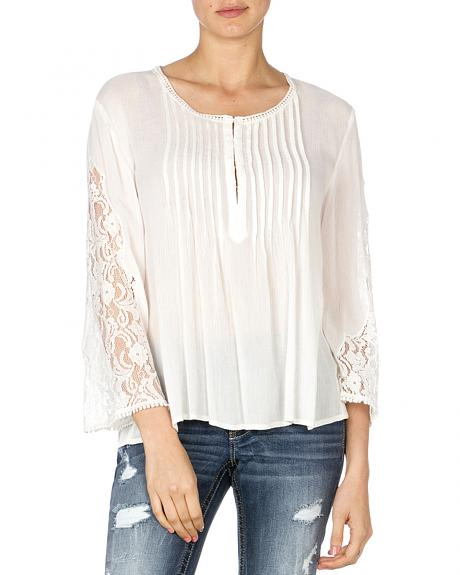 Miss Me Women's Pleated Lace Sleeve Top