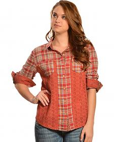 Miss Me Women's Pink Mix Match Plaid Top
