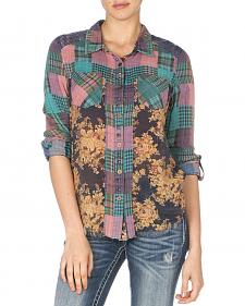 Miss Me Women's Teal Mix Match Plaid Top