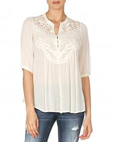 Miss Me Pleated Lace Peasant Top