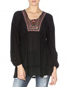 Miss Me Black Peasant Top