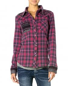 Miss Me Women's Embellished Yokes Plaid Shirt
