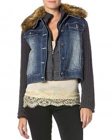Miss Me Denim Faux Fur Collar Jacket