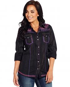 Cowgirl Up Long Sleeve Purple Vintage Washed Woven Shirt
