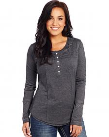 Cowgirl Up Women's Long Sleeve Henley Top