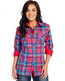 Cowgirl Up Long Sleeve Pink Plaid Western Shirt