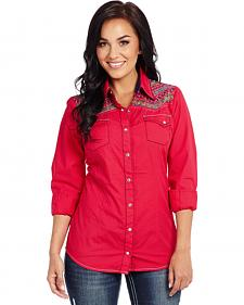 Cowgirl Up Enzyme-Washed Embroidered Woven Shirt