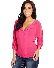 Cowgirl Up Women's Pink Embellished Raglan Top