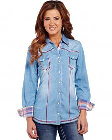 Cowgirl Up Stonewashed Long Sleeve Woven Shirt