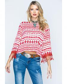 Cowgirl Up Southwestern Print Scoopneck Top