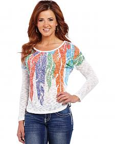 Cowgirl Up Multicolored Feather Print Top