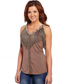 Cowgirl Up Women's Beaded Tank Top with Fringe Trim