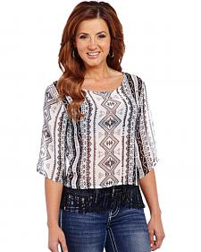 Cowgirl Up Women's Geometric Printed Chiffon Top with Fringe