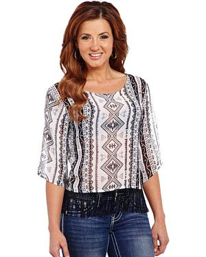 Cowgirl Up Womens Geometric Printed Chiffon Top with Fringe