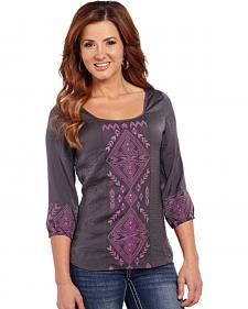 Cowgirl Up Geometric Embroidered Top