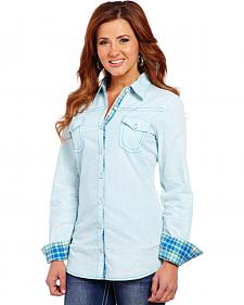 Cowgirl Up Women's Blue Two-Pocket Embroidered Shirt
