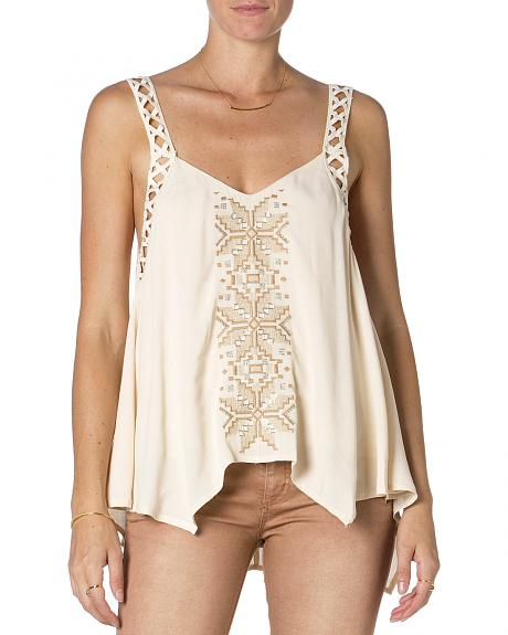 Miss Me Cream Embroidered Tank Top