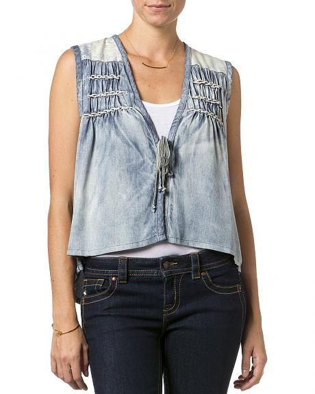 Miss Me Chambray Front Tie Vest