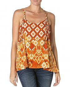 Miss Me Lace Orange Print Tank Top