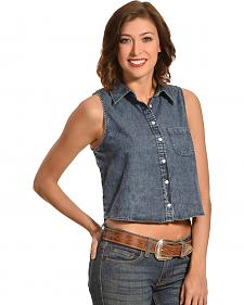 Derek Heart Women's Chambray Crop Top