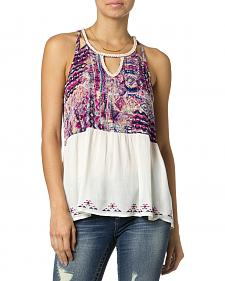 Miss Me Purple Printed Tank Top
