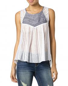 Miss Me Chambray Lace Tank Top