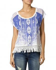 Miss Me Printed Fringe Top