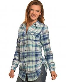 Derek Heart Women's Love Silver Foil Green Plaid Tunic