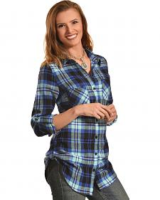 Derek Heart Women's Steer Print Blue Plaid Tunic