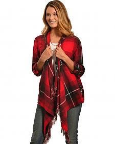 Derek Heart Women's Red Plaid Drape Fringe Cardigan