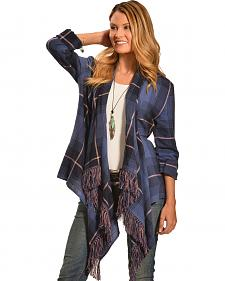 Derek Heart Women's Blue Plaid Drape Fringe Cardigan
