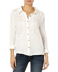 MIss Me Off-White Lace Yoke Button Down Top